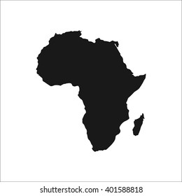 Detailed Africa continent simple icon on white background