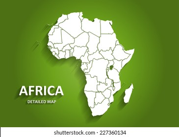 Detailed Africa Map on Green Background with Shadows (EPS10 Vector)