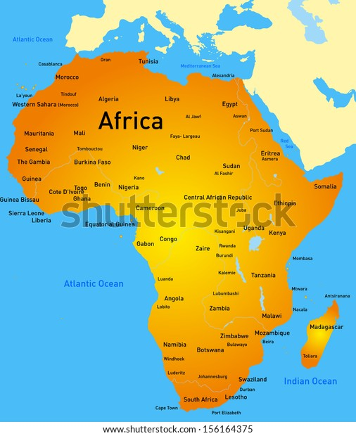 Map Of Alexandria Africa Detailed Africa Vector Map Stock Vector (Royalty Free) 156164375