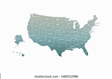 detailed america map. graphic vector of united states map