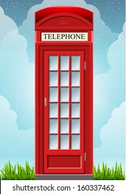Detailed animation of a English Red Telephone Cabin on the grass