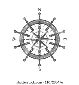 Detailed antique compass wind rose isolated on white background icon. Nautical navigation and cartography symbol vector illustration.