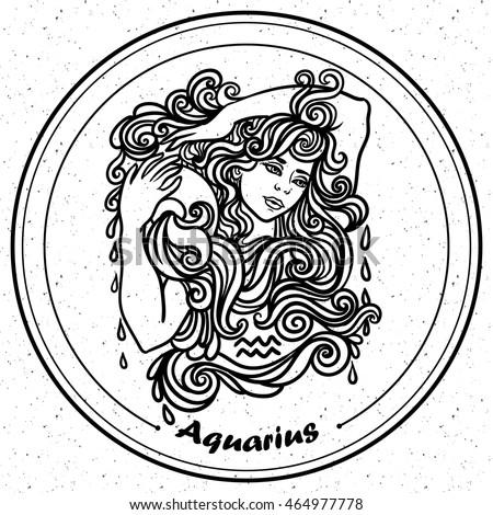 Detailed Aquarius Aztec Filigree Line Art Stock Image