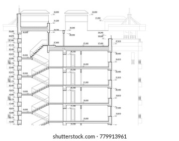 Detailed architectural plan of multistory building. Cross-section view. Vector blueprint. Architectural background.