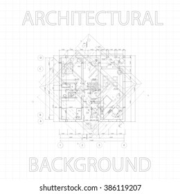 Detailed architectural plan on gray graph paper. Vector Illustration.