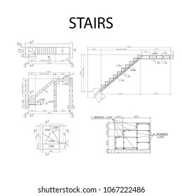 Detailed architectural plan of stairs, construction industry vector