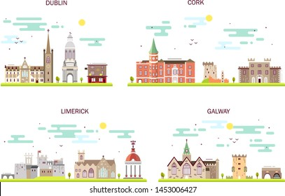 Detailed architecture of Dublin, Cork, Limerick, Galway. Business cities in Ireland. Trendy vector illustration, line flat style. Handdrawn illustration with main tourist attractions.