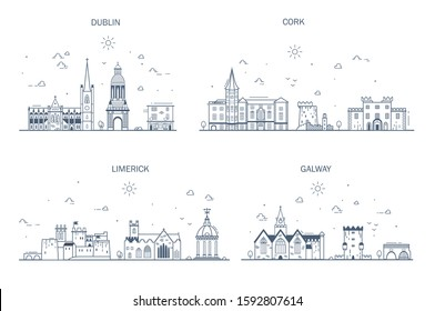 Detailed architecture of Dublin, Cork, Limerick, Galway. Business cities in Ireland. Trendy vector illustration, line art style. Handdrawn illustration with main tourist attractions.