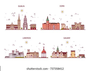 Detailed architecture of Dublin, Cork, Limerick, Galway. Business cities in Ireland. Trendy vector illustration, line art style.Handdrawn illustration with main tourist attractions.
