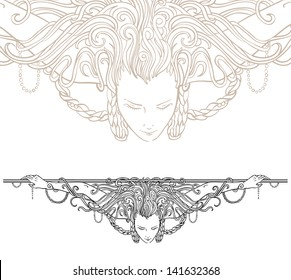 Detailed art-nouveau decorative divider as vintage engraved angel woman, with close up fragment