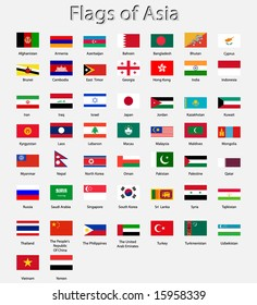 Detailed Asian flags