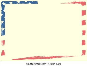 detailed background illustration of an american flag with grunge texture and white space, eps 10 vector
