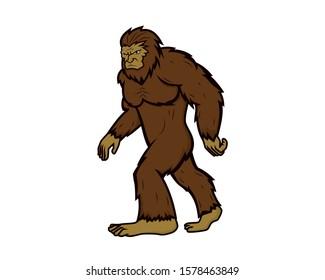 Detailed Bigfoot with Walking Gesture Illustration