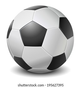 Detailed black fringe football ball isolated on white background. Vector illustration