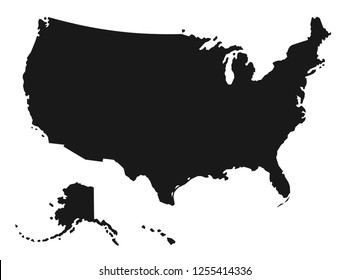 Detailed Black Map of the United States of America on a white background