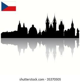 Detailed Black vector Prague silhouette skyline with Czech flag