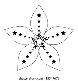 Detailed black and white five sided abstract flower (petals decorated with stars)