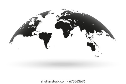 Detailed black world map, mapped on an open globe, isolated on white background