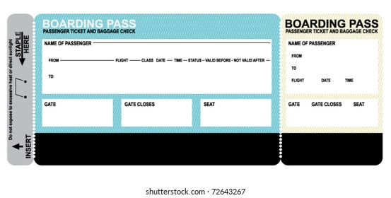 Detailed blank airline boarding pass. Plane ticket. Vector.