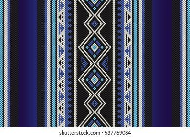 Detailed Blue Traditional Folk Sadu Arabian Hand Weaving Pattern