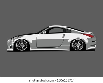 detailed body and rims of a car cartoon vector illustration isolated with flat grey background