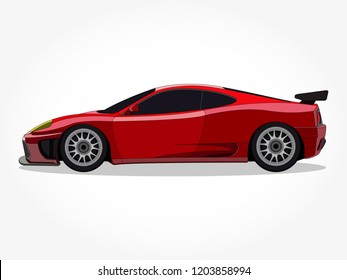 detailed body and rims of a flat colored car cartoon with black stroke and shadow effect in wide screen ratio