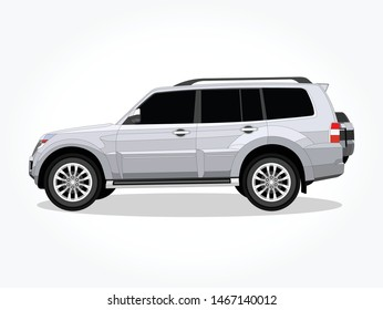 detailed body and rims of a flat colored SUV car cartoon vector illustration with black stroke and shadow effect