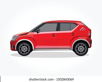 detailed body and rims of a flat colored car cartoon vector illustration with black stroke and shadow effect