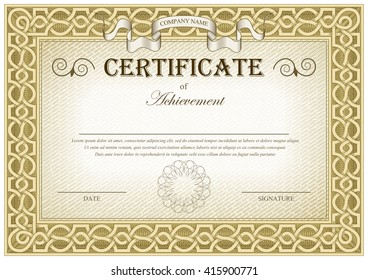 Detailed brown vintage template blank certificate flags and flourishes