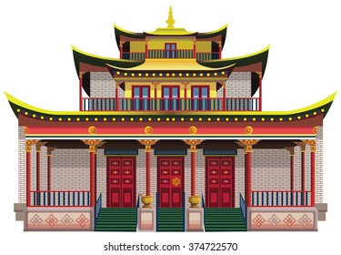 Detailed buddhist temple, monastery