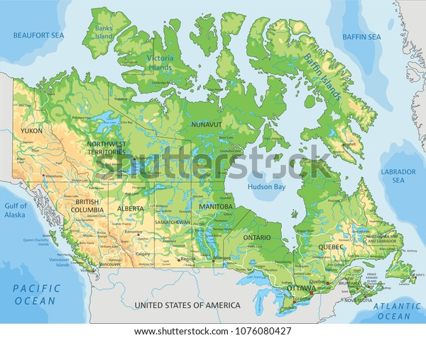 Canada Physical Map on