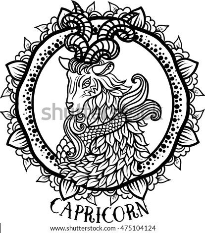 Detailed Capricorn Aztec Filigree Line Art Stock Vector Royalty
