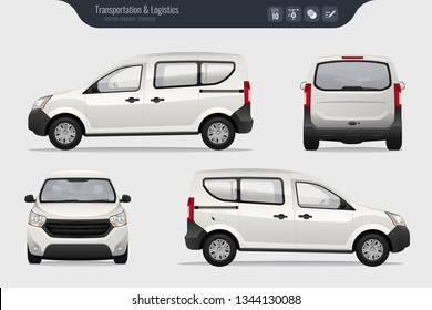 Detailed cargo freight car vector template. Realistic White Cargo Van isolated on grey background. Vector