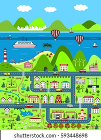 Detailed cartoon map with city, mountains, and sea