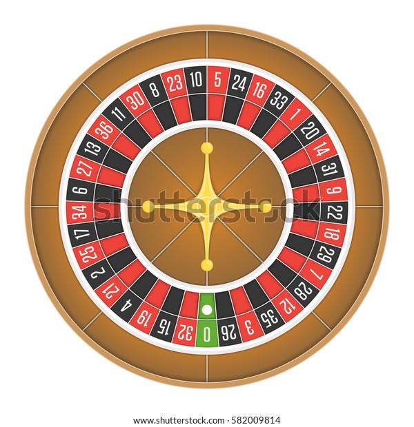 Detailed casino roulette wheel isolated on white background. Gambling games concept. Vector illustration. EPS 10.