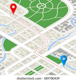Detailed city map in isometric view with GPS pins and route