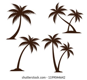 detailed coconut tree silhouette illustration vector logo design inspiration for brand identity template, pattern and more