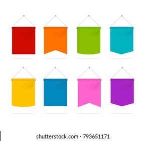 Detailed Color Pennant Template Icons Set Isolated on White Background Symbol of Marketing. Vector illustration of Icon