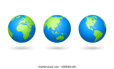 Detailed colored world map, mapped on three globes, centered on Europe, Asia and America, isolated on white background