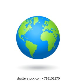 World globe images stock photos vectors shutterstock detailed colored world map mapped on a globe isolated on white background gumiabroncs Gallery