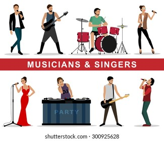 Detailed colorful graphic set of musicians: guitarists, drummers, singers, dj. Isolated vector illustration. Flat style people characters: men and woman.