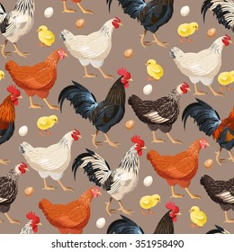 Detailed colorful hens vector seamless background pattern