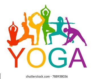 Detailed colorful silhouette yoga vector illustration. Fitness Concept. Gymnastics. Aerobics.