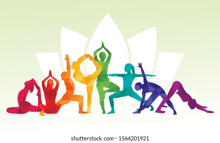 Detailed colorful vector silhouette yoga people illustration background. Fitness Concept. Gymnastics. Aerobics. Asanas, meditation, lotus position.