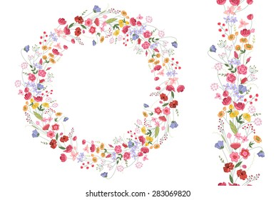 Detailed contour wreath with herbs and bright wild stylized flowers isolated on white. Round frame for your design, greeting cards, wedding announcements, posters. Seamless pattern brush.