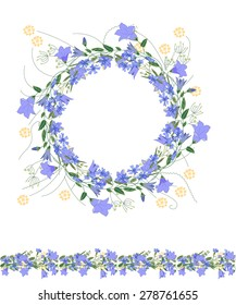 Detailed contour wreath and seamless pattern brush with bluebells and herbs isolated on white. Endless horizontal texture for your design, greeting cards, announcements, posters.