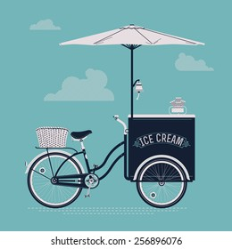 Detailed creative vector ice cream bicycle cart vintage classic design web background | Detailed retro ice cream vending cart with parasol sunshade