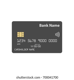 Detailed credit card template with contactless payment symbol