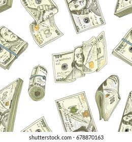 Detailed currency banknotes or american Franklin Green 100 dollars or cash and coin. engraved hand drawn in old sketch style, vintage money bill icons. Seamless pattern. Bag or purse of gold.