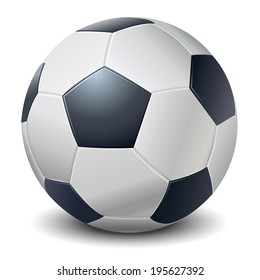 Detailed dark blue fringe football ball isolated on white background. Vector illustration